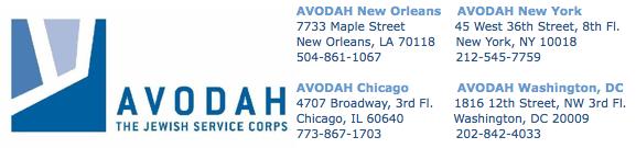 AVODAH logo plus addresses