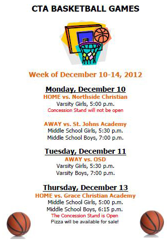 Basketball Weekly Sched