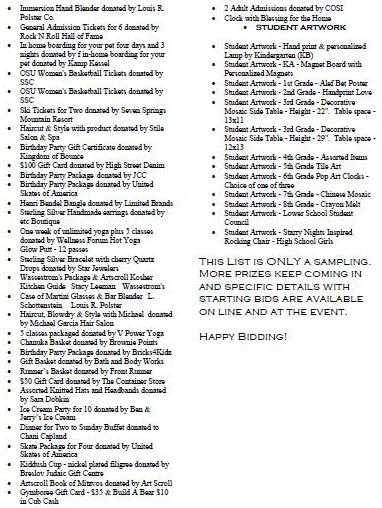 Silent Auction list2