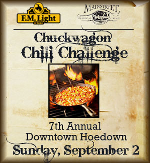 F.M. Light and Sons and MainStreet Steamboat Springs Present the 7th Annual Downtown Hoedown and Chuckwagon Chili Challenge - Sunday, September 2, 2012