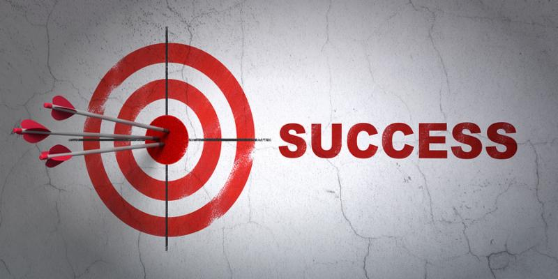 Success finance concept  arrows hitting the center of target, Red Success on wall background, 3d render