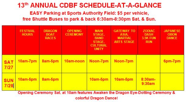 CDBF 2013 Schedule