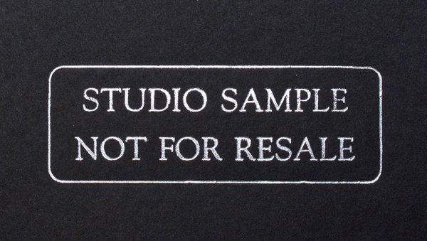 Text on inside cover of H&H Color Lab's Metal Album will read Studio Sample Not for Resale