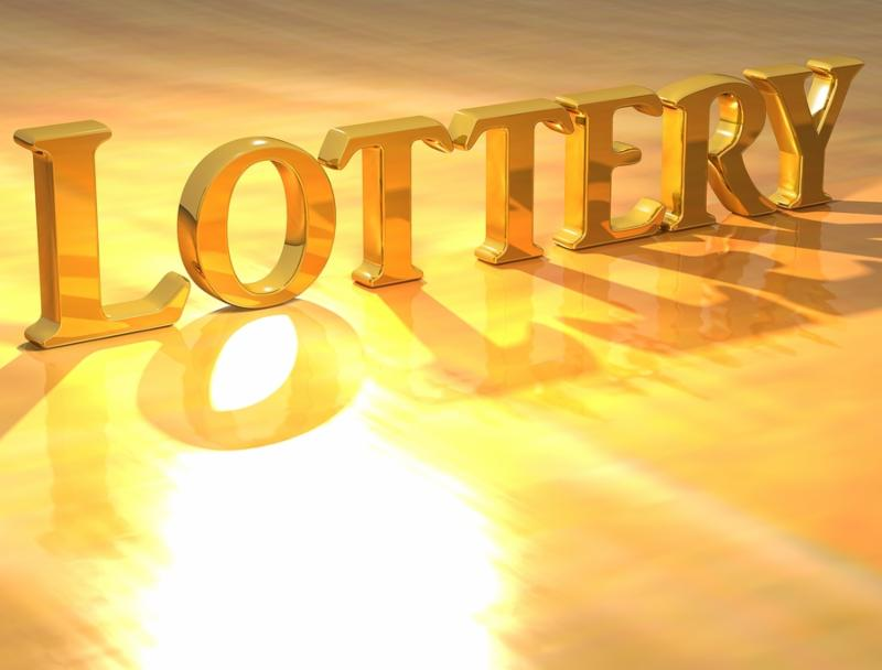 3D Lottery Gold text over yellow background