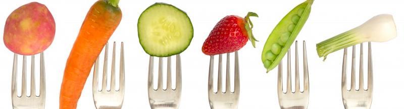 Veggies on forks