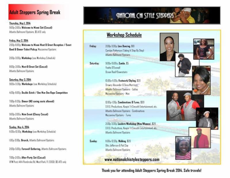 2014 Adult Spring Break Itinerary & Workshop Schedule