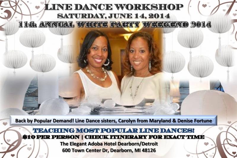 2014 Detroit White Party Line Dance flyer