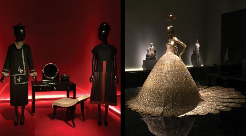 (Left) Steppe coat and Mademoiselle dress by Paul Poiret  (Right) Gold Lame Evening Gown by Guo Pei