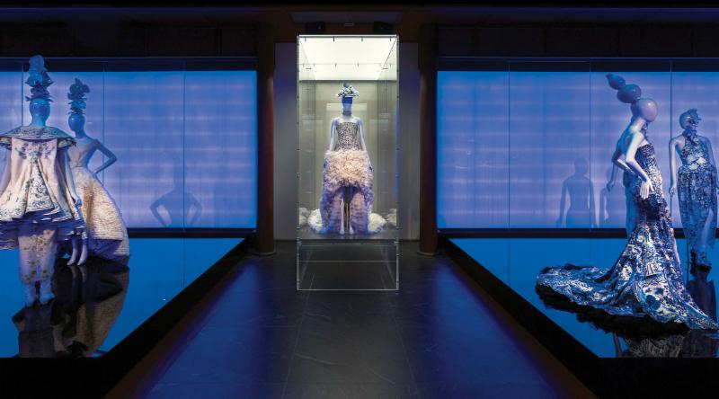 Chinese Galleries, Frances Young Tang Gallery, Blue and White Porcelain featuring an evening dress designed by Sarah Burton for Alexander McQueen