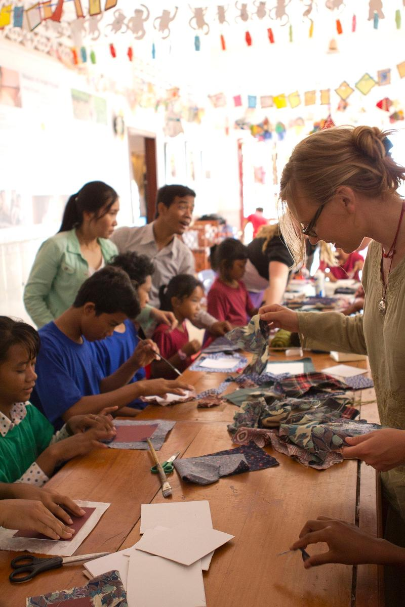 Art therapy students in Cambodia