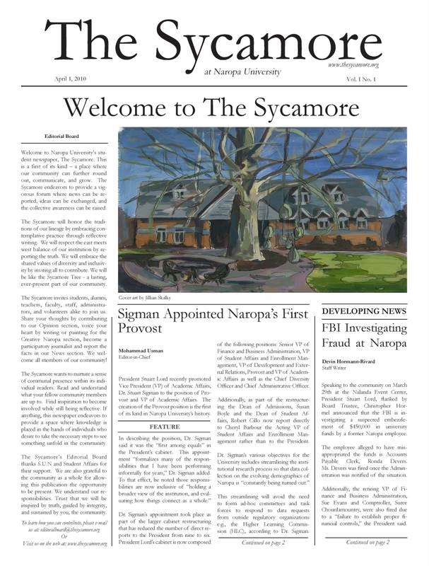 Sycamore Page 1 Issue 1