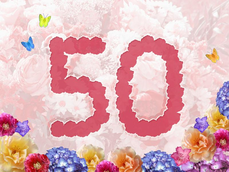 number 50 on flowers pastel background with flowers design for jubilee or birthday