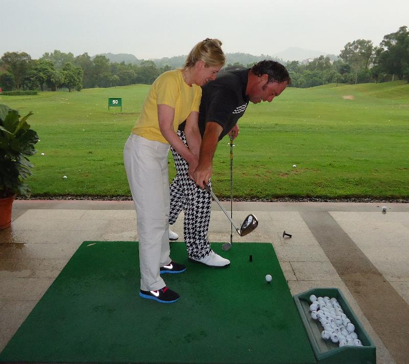 Rebecca with coach Michael Owen