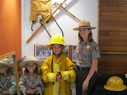 Dressing up as a ranger in Zion National Park