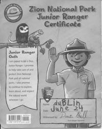 Zion Jr Ranger Paper