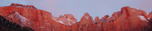 The Temples and Towers of Zion photographed early morning February 2008