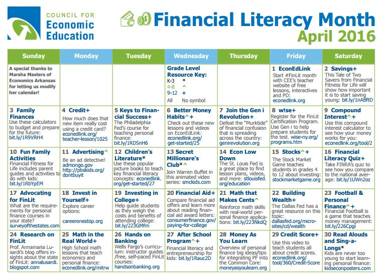 Financial Literacy Calendar_ April 2016