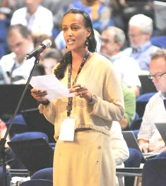 Sophia Bekele speaking at ICANN Cartegena