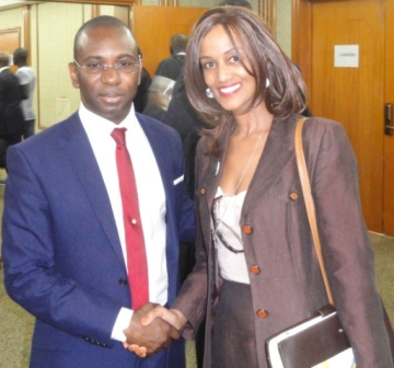 Ms. Sophia Bekele with HE Moustapha Guirassy Minister of Tele of Senegal