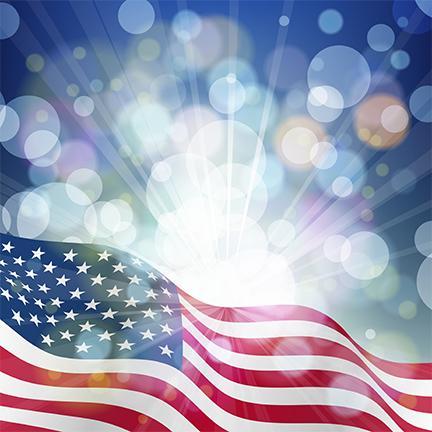 US Flag and sunbursts