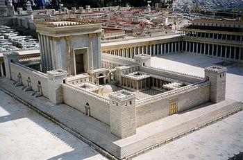 Model of Herod's Temple at the Israel Museum. Fotografía del Templo de Jerusalén en la maqueta del Jerusalén bíblico del jardín del Hotel Holyland en Jerusalén, Author Juan R. Cuadra