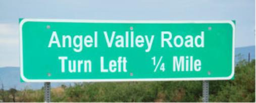Angel Valley Road Sign