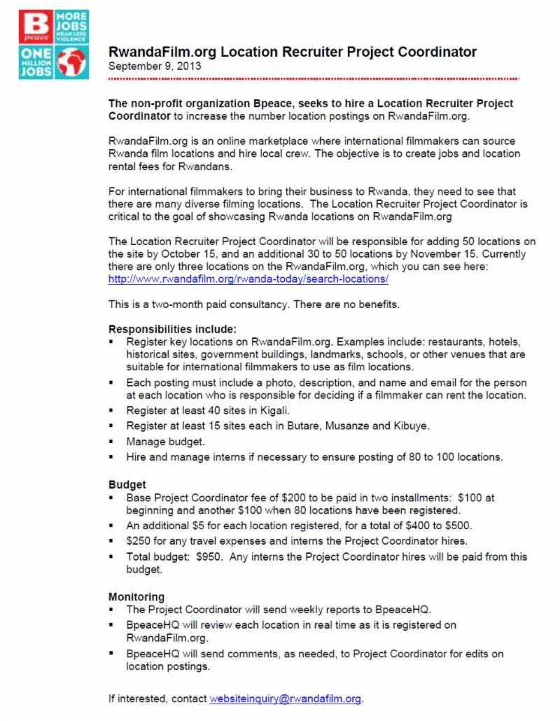 Project Coordinator RwandafilmJob Description – Project Coordinator Job Description