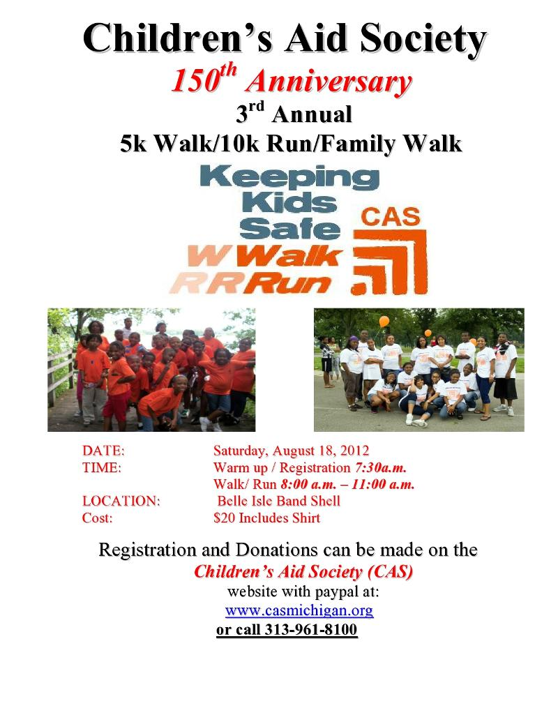 Childrens Aid Society 2012 Walk Run flyer