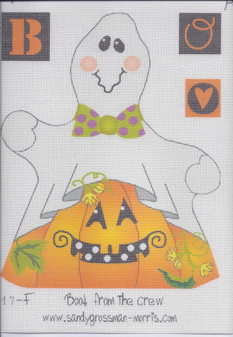 Boo! from the crew needlepoint canvas by Sandy Grossman-Morris