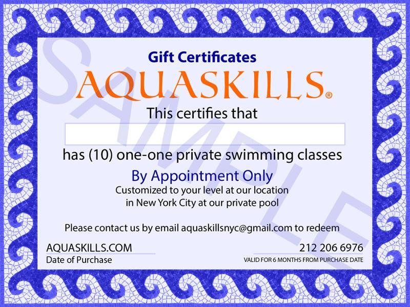 """swim certificates  AQUASKILLS """"NEW"""" GIFT CERTIFICATES FOR SWIM CLASSES"""