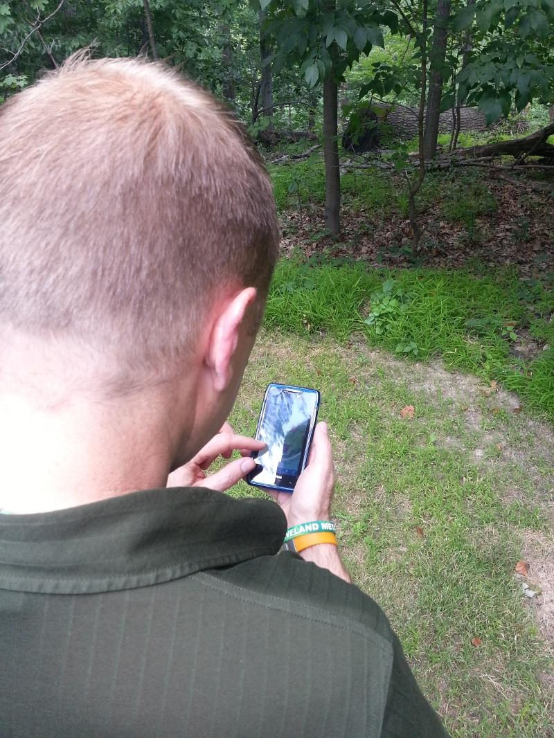 Trail App over shoulder