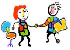 one person holding another person's hand, cartoon images