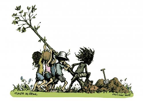 cartoon-children planting tree
