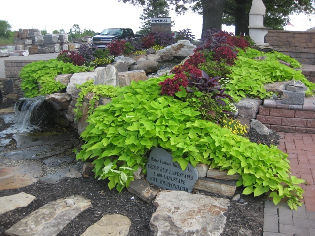 Pondless Waterfall With Annuals