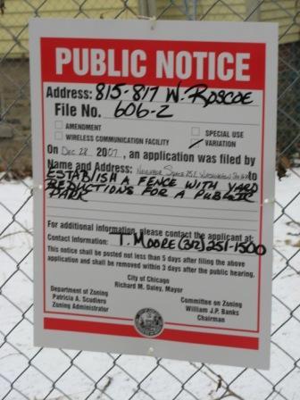 Space Park Public Notice for Fence