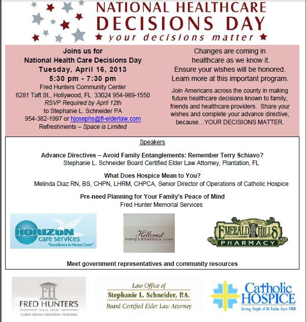 National Healthcare Decisions Day Seminar