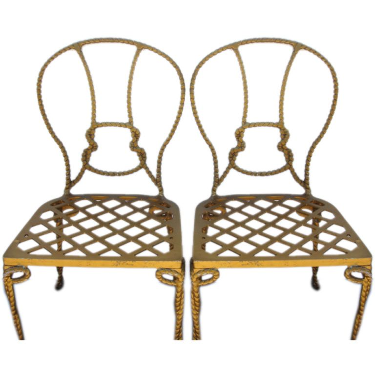 faux rope metal chairs