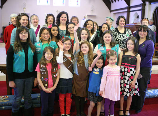 Girls Scout visit church