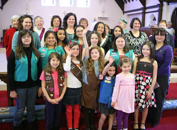 Girls Scout visit church