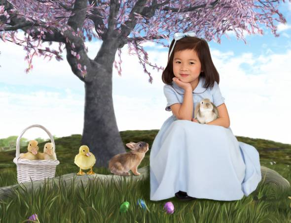 Girl with bunnies and ducks