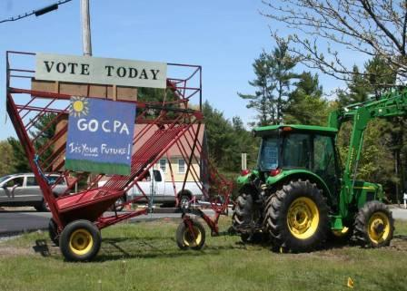 vote CPA sign on tractor
