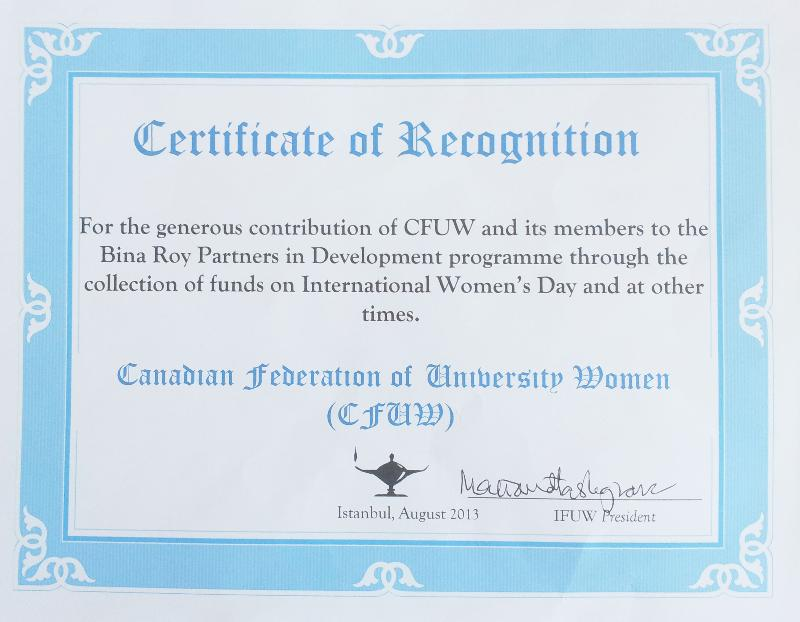 272g certificate of recognition honouring cfuws contributions to bina roy from ifuw yadclub Image collections