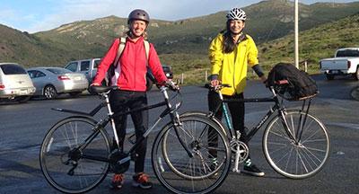 Jennifer and Jupei Bike to the Marin Headlands