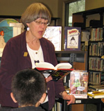 Hazel in the library