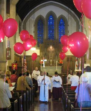 Red Balloons at Pentecost