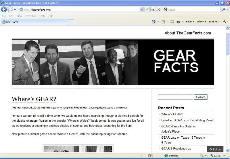 TheGearFacts.com Webshot