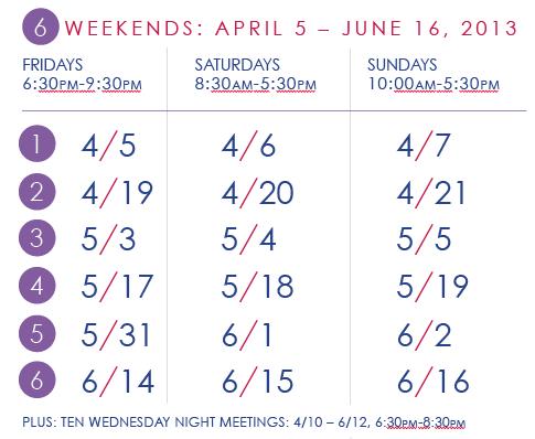 YOGA TT schedule, spring