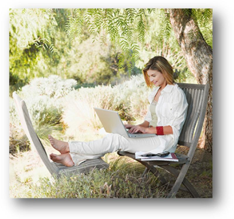 Woman on swing:computer