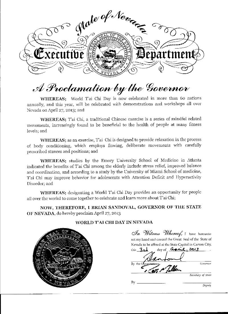 Nevada Governor Proclamation 2013