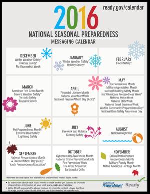 Access the 2016 National Seasonal Preparedness Messaging Calendar
